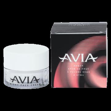 Нощен крем за лице с розова вода и хума Avia – 40 мл