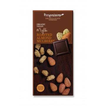 Био шоколад с печени бадеми и черница Happy Benjamino - 70 гр