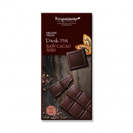 Веган черен шоколад със сурови, счукани какаови зърна Happy Benjamino - 70 гр