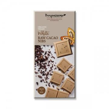 Алтернативен бял шоколад със счукани какаови зърна Happy Benjamino - 70гр