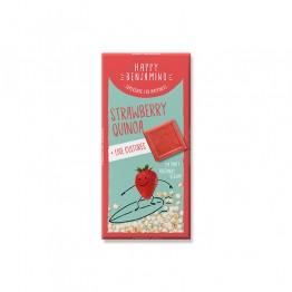 Веган бял шоколад с ягоди и пукана киноа Happy Benjamino - 70 г