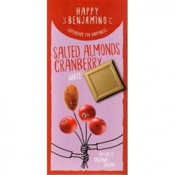 Алтернативен бял шоколад със солени бадеми и червена боровинка Happy Benjamino - 70 гр