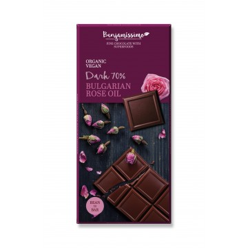 Черен шоколад с масло от Българска роза Happy Benjamino - 70 гр
