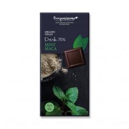 Веган черен шоколад с мента и мака на прах Happy Benjamino - 70 гр