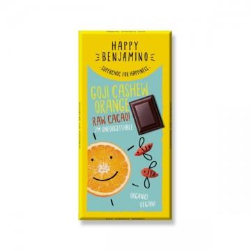 Суров шоколад с годжи бери, кашу и портокал Happy Benjamino - 25 гр