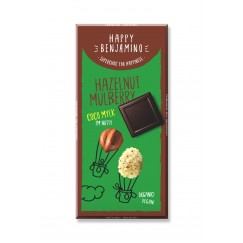 Веган шоколад с кокосово мляко, лешници и черници Happy Benjamino - 70 гр