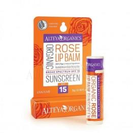 Органичен Слънцезащитен балсам за устни SPF 15 - Alteya Organics - 5 гр