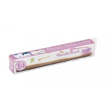 Детска бамбукова четка за зъби (розова) - Humble Brush