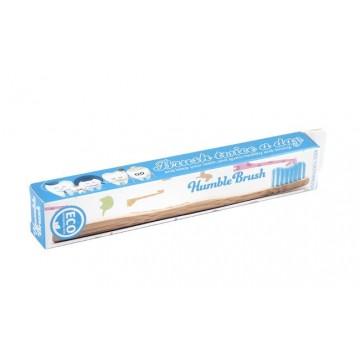 Детска бамбукова четка за зъби (синя) - Humble Brush