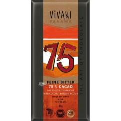 Био натурален шоколад 75% с кокосов нектар Vivani - 80 гр