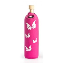 Бутилка за структуриране на вода Flaska  Lady 0.500 - розов - бели пеперуди и Swarovski кристали